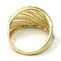 SOLID 18K YELLOW GOLD BAND RING, MULTI OBLIQUE WIRES, CUBIC ZIRCONIA image 4