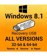 Windows 8.1 All Versions 32 & 64 Bit Recovery Reinstall Boot Restore USB... - $21.99