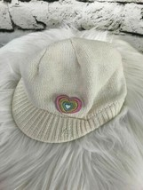 Girls One Sz Hat White Winter Cap Brimmed Beanie Multi Color Heart Decal - $6.92