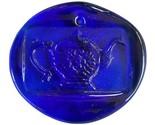 Colette Glass Designs Teacup Window Suncatcher Lead Crystal Ornament Cobalt Blue