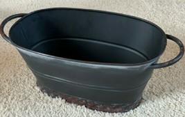 Pottery Barn Blackened Galvanized Vase Black Wide Flower Pot Metal Farmh... - $60.32