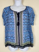 Bila Womens Size XXL Blue Boho Geometric Pattern Blouse Short Sleeve Tie... - $16.83