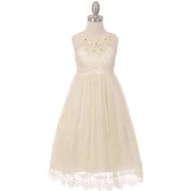 Ivory Sleeveless Full Lace Girl Dress Raised Flowers with Rhinestone on Neckline - $32.00
