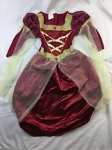 Princess renaissance dress costume Size Maybe Girls 6/7 Red Gold - $23.36