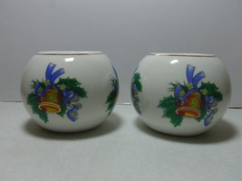 PORCELAIN TEALIGHT CANDLE HOLDER WITH BELL AND HOLLY  - $15.99