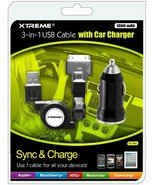 Xtreme 88212 Durable 3-in-1 USB Car Charger - Retail Packaging - Black 1... - $3.91