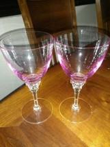 "(2) Tiffin Crystal WISTARIA-PINK Water Goblets Stem WISTERIA 6 3/4"" - $33.62"