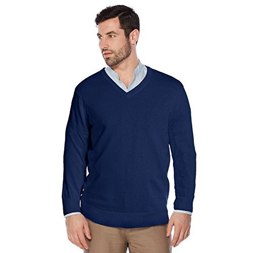 Berlioni Italy Men's Slim Fit Microfiber V-Neck Dress Pullover Sweater (Medium,