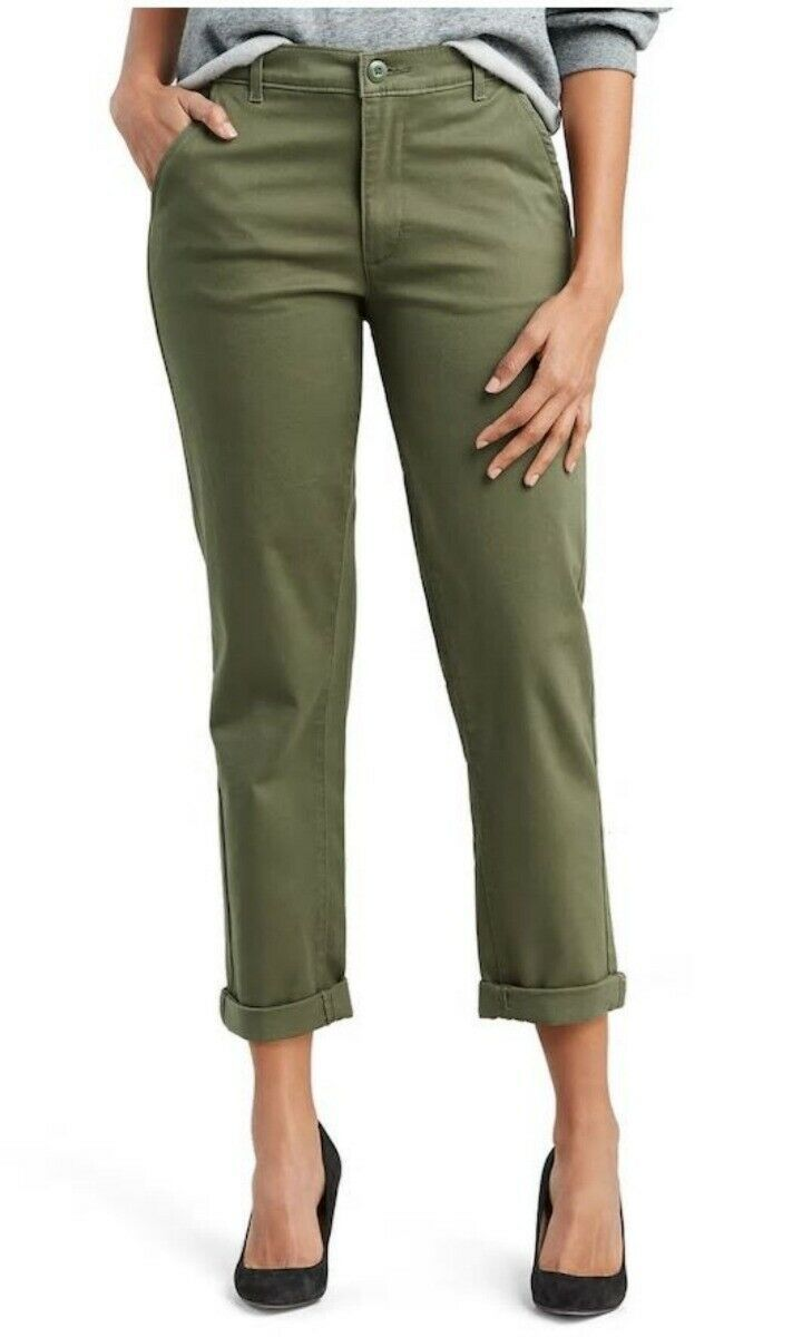 Primary image for $59.50 Levi Classic Chinos Olive Green Cuffed Crop Pants Crisp Kalamata New