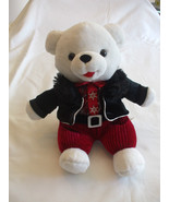 9 Inches Snowflake White Teddy Bear Black Coat, Red Shirt Red Pants 2013 - $24.65