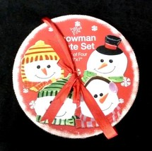 Set of 4 Snowman Face Porcelain Snack Dessert Plate Set China Collectibl... - $19.57