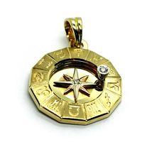 18K YELLOW GOLD ZODIAC SIGN ROUND 22mm DIAMOND PENDANT WIND COMPASS ZODIACAL image 4