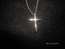 """14K White Gold Cross with 1.5 mm white diamond and 15"""" chain 1.6 grams - $40.00"""
