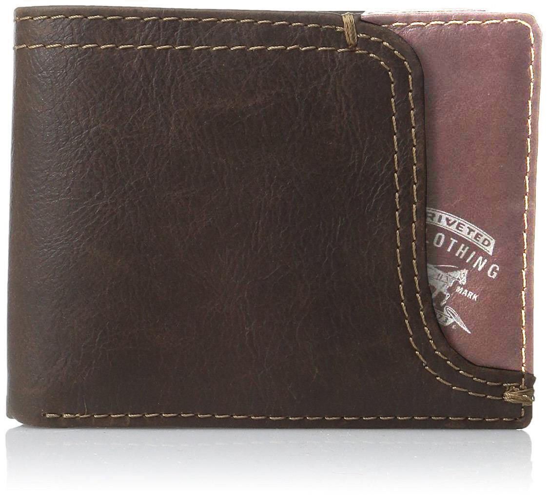 NEW LEVI'S MEN'S PREMIUM LEATHER CREDIT CARD ID WALLET BILLFOLD BROWN 31LV2200