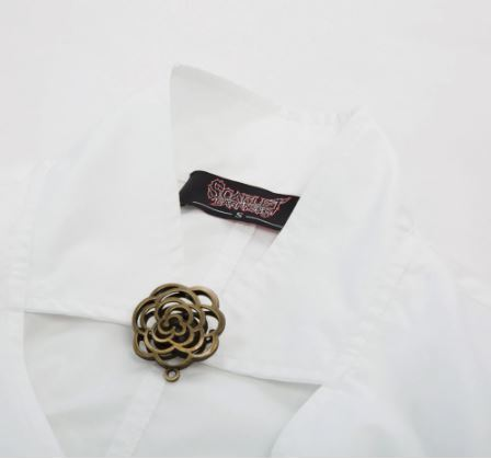 Steampunk Victorian Blouse Button Up Fitted with Ruffled Hem