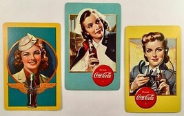 Three Different Collectible1940s WW II Era Coca Cola Playing Cards  GRP-0122 - $14.85