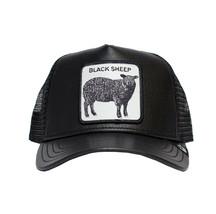 Goorin Bros Mesh Cap Animal Farm Game Changerl Black Sheep Leather Trucker Hat image 2