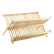 Dish Drying Rack Wood, 2 Tier Collapsible Large Dish Drainer Rack - €27,97 EUR