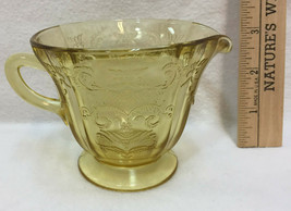 Creamer Federal Glass Depression Yellow Madrid Pattern Vintage Small Pit... - $9.85
