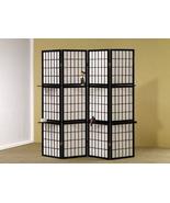 Room Divider 4 Panel Shoji Folding Screen with Shelving, Black Finish - $135.00