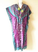 EL9 Floral Kaftan Digital Printed Viscose Batwing Empire Maxi Tunic - XL... - $29.60