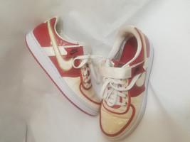 NIKE retro 2008 SHOES size 9 WHITE / VARSITY RED GOLD accent Swoop Velcr... - $89.09