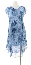 H Halston Petite Rose Print Cap Slv Hi-Low Dress Blue 18WP NEW A303199 - $58.39
