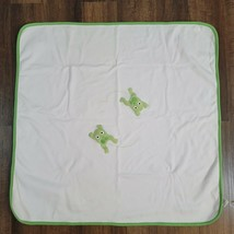 Gymboree Playtime Frog Baby Blanket 2004 Security Lovey Cotton White Green  - $29.69