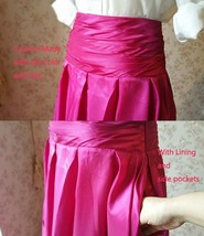 Women High Waist Pleated Evening Skirt Floor Length Maxi Formal Skirts- Fuchsia image 4
