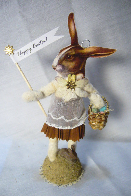 Vintage Inspired Spun Cotton Easter Bunny Faced Girl no. 174A