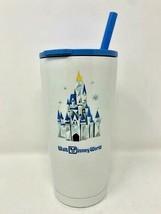 Disney Parks Starbucks WDW Cinderella Castle Blue Tumbler Stainless Steel Straw - $38.60