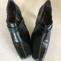 Aerosoles Black Leather Bootie Sz 10M Side Zip Square Toe - $16.83