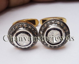Wedding Vintage Look Rose Cut Diamond 925 Silver Polki Men's Cufflinks CSJ - $4.760,62 MXN