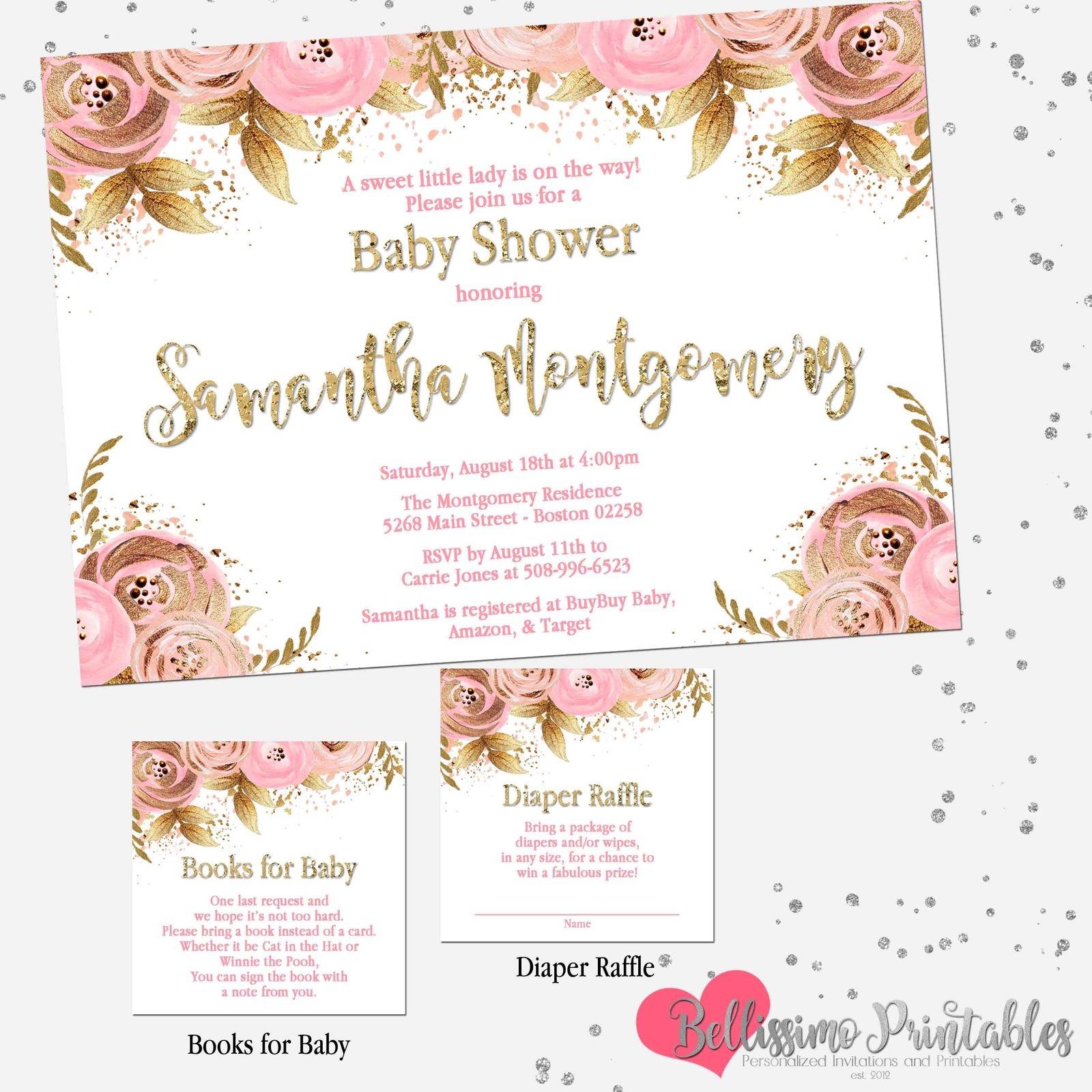 1a64409583fe4 Pink Gold Floral Pink Blush Baby Shower and 50 similar items