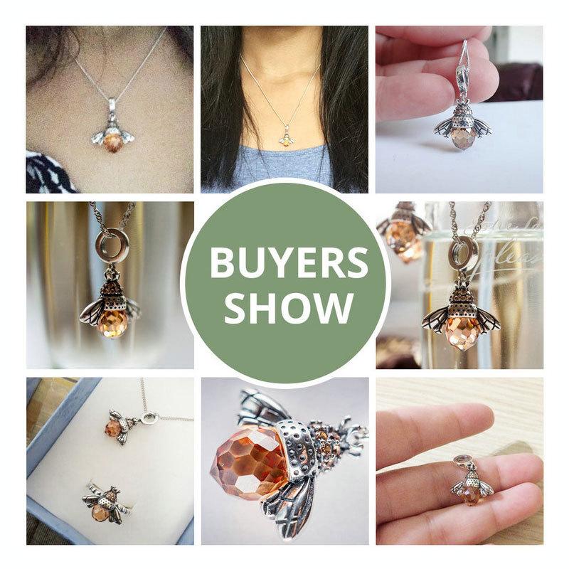 Classic Hotsale New 925 Sterling Silver Orange Dancing Bee Pendants Fit