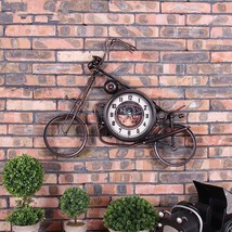 Creative Motorcycle Wall Clock Iron Motorcycle Design Hanging Watch Deco... - $188.39