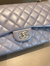 AUTH CHANEL LAVENDER PURPLE LAMBSKIN QUILTED JUMBO DOUBLE FLAP BAG SILVER HW image 5