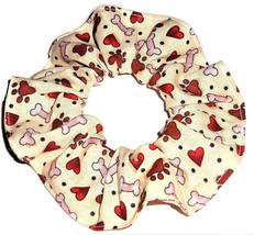 Paw Prints Dog Bones Heart Cream Fabric Hair Scrunchie Scrunchies by Sherry - $6.99
