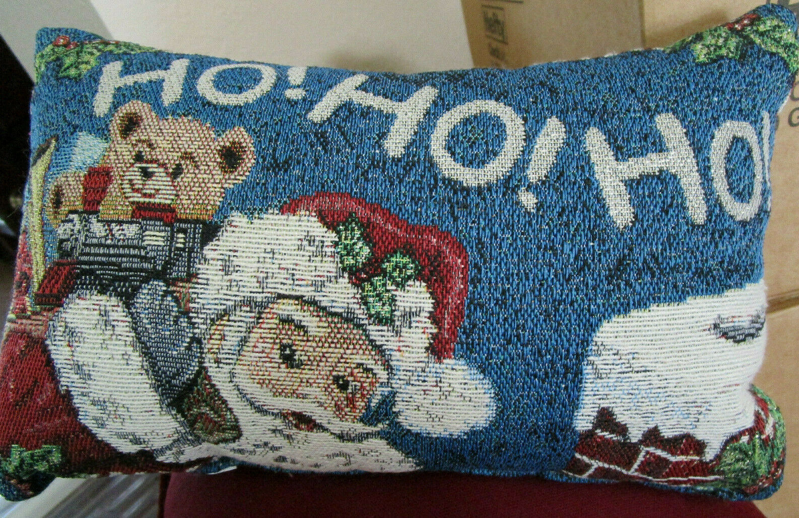 Primary image for  SANTA w/ TOYS CHRISTMAS Tapestry THROW PILLOW 12 x 7.5 VTG from Cedar Storage