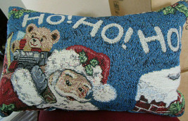 SANTA w/ TOYS CHRISTMAS Tapestry THROW PILLOW 12 x 7.5 VTG from Cedar S... - $7.99