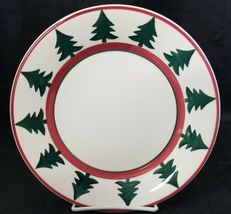 "Pier 1 Christmas Tree Dinner Plates Set of 2 Made in Italy 9.75"" White Red Trim image 3"