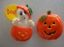 Hallmark Vintage Ghost Pumpkin Boo  Pin and Unmarked Pumpkin Pin Hong Kong - $9.85