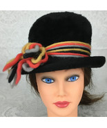 Vintage Womens La Vienne Black Faux Fur Bucket Top Hat Colorful Yarn Acc... - $26.99