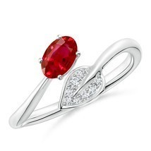 Nature Inspired Best AAA Ruby Bypass Ring with Diamond Leaf in Gold/Plat... - $1,013.42+