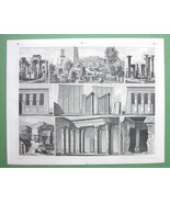 ARCHITECTURE Egyptian Temples Philae Karnak Tantyra - 1844 Original Print - $22.95