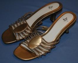 Life Stride Gold Tone Slip On Heels 9M 9 M Signal Kitten Pump Metallic Womens - $23.21