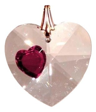 Enhanced 28mm Clear Crystal Faceted Heart Prism