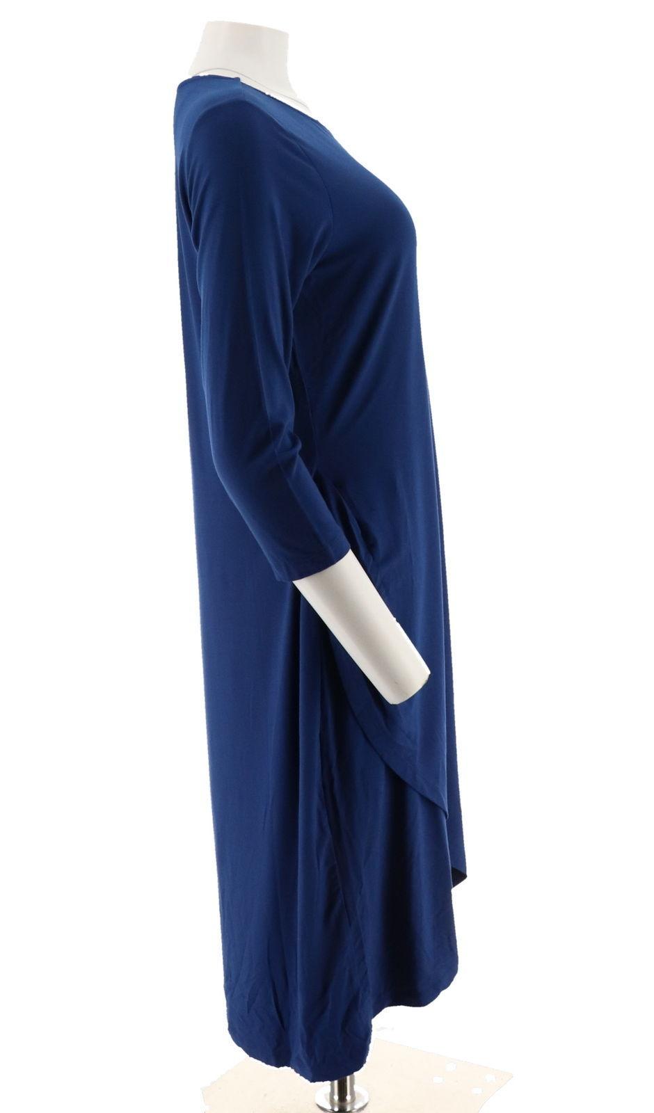 Halston 3/4 Slv Draped Front Crewneck Hi-Low Hem Dress Royal Blue XS NEW A280164 image 4