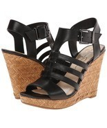 Women Jessica Simpson Jhane Wedge Sandals, Size 10 Black JS-JHANE NIB - £56.85 GBP