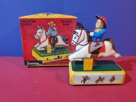Cragstan Galloping Cowboy Savings Bank Tin Toy battery operated orig box tested - $861.30